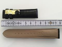 Mühle Uhrenarmband für Faltschliesse Alligator schwarz 20 mm
