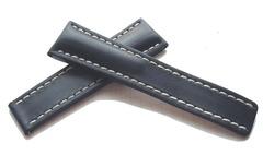 Breitling Kalbleder Faltschließenband Blau 24/20 mm