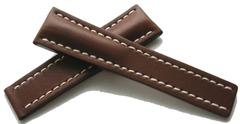 Breitling Kalbleder Faltschließenband 444X Dunkelbraun 24-20 mm