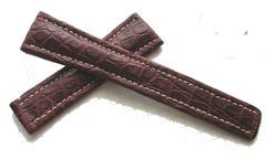 Breitling Echt-Kroko Bordeaux Lederband für Breitlingfaltschließe 22-18 mm