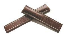 Breitling Echt-Kroko Faltschließenband Braun 20-18 mm 723P