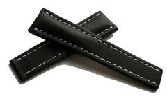 Breitling Kalbleder Faltschließenband 436X Schwarz 22-20 mm