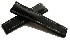 Breitling Kalbleder Faltschließenband 463X Schwarz 22-18 mm