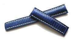 Breitling Echt Eidechse Faltschließenuhrband 18-16 Blau für Breitlingfaltschließe