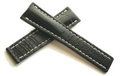 Breitling 744P Echt Krokodil Faltschließenuhrband 22-20 mm Schwarz