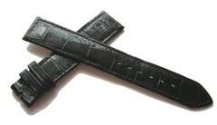 ROLEX KROKODIL LEDERBAND 18/16 mm Flach Glänzend Schwarz