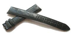 ROLEX KROKODIL XXL Überlänge LEDERBAND 20/16 mm Flach Glänzend Schwarz