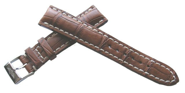 Breitling 712P Echt Alligator Kroko-Dornschließenband Braun 19-16 mm