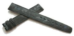 OMEGA KROKODIL LEDERUHRBAND 16/14 mm FLACH Schwarz