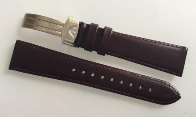 Armani Lederband 20 mm Bordeaux mit Faltschliesse