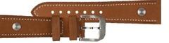 Hanhart Pioneer Kalbleder Uhrenarmband mit Nieten Hellbraun 20 mm