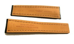 Breitling 761P Echt Krokodil Faltschließenuhrband 24-20 mm Schwarz