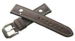 Hanhart Pioneer Kalbleder Nietenuhrband Dunkelbraun 20 mm (20/18)