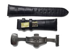 Mühle Lederband Alligator Schwarz 22 mm mit Faltschliesse