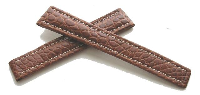 Breitling Echt-Kroko Faltschließenband Braun 16-14 mm