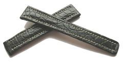 Breitling Echt-Kroko Faltschließenband Schwarz 16-14 mm 215P