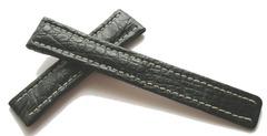 Breitling Echt-Kroko Faltschließenband Schwarz 20-18 mm
