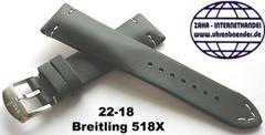 Breitling 518X Retro Kalbleder Dornschliessenband 22-18 mm Schwarz