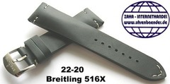 Breitling 516X Retro Kalbleder Dornschliessenband 22-20 mm Schwarz