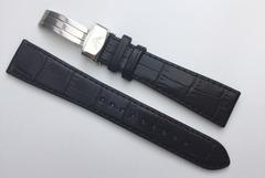 Armani Uhrband 20mm Leder Schwarz mit Faltverschluss