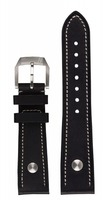 hanhart Uhrenarmband »Uhrenarmband PIONEER Kalbsleder schwarz (22 mm)«