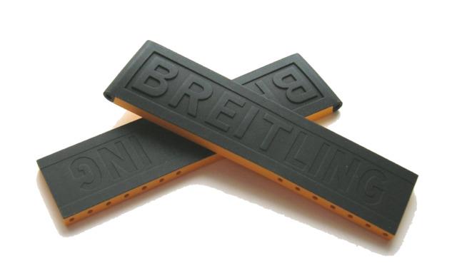 Breitling Twin PRO 262S Kautschuk-Faltschließenband 22-20 mm Schwarz/Gelb